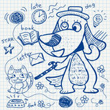 Notebook paper doodles Royalty Free Stock Images