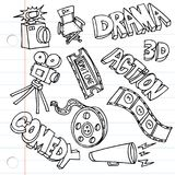 Notebook Paper Entertainment Drawings. An image of Notebook Paper Entertainment Drawings set Royalty Free Stock Image