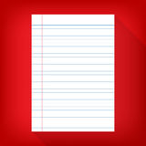 Notebook paper isolated red background empty message Royalty Free Stock Photography