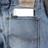 Notebook paper in jean pocket Royalty Free Stock Photography