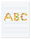 Notebook paper with letters A B C composed of autumn maple leafs Royalty Free Stock Image