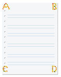 Notebook paper with letters A B C D in corner composed of autumn Royalty Free Stock Photography