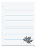 Notebook paper with maple-leaf at background. Notebook paper with maple leaf at background Stock Images