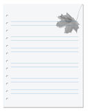 Notebook paper with maple-leaf at background Stock Images