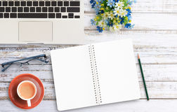 Notebook paper on office desk Royalty Free Stock Photo