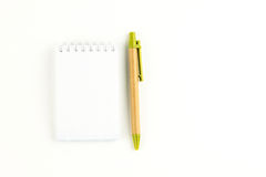 A notebook paper and a pen. Royalty Free Stock Photography