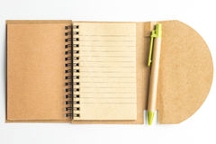 A notebook paper and a pen. Stock Image