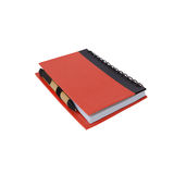 Notebook and paper pen on white Royalty Free Stock Images