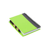 Notebook and paper pen on white Royalty Free Stock Photo