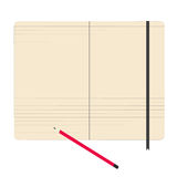 Notebook paper pencil vector illustration Stock Photos