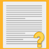 Notebook paper and questionnaire. Notebook paper and yellow questionnaire isolated on yellow background Royalty Free Stock Image