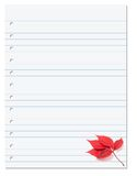 Notebook paper with red autumn virginia creeper leaf in corner Royalty Free Stock Photos