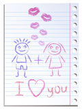 Notebook paper sheet with lips imprint Royalty Free Stock Image