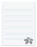 Notebook paper with virginia creeper leaf at background Royalty Free Stock Image