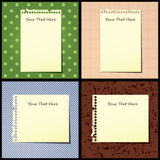 Notebook papers on decorative backgrounds Stock Photography