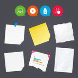 Notebook pc and Usb flash drive stick icons. Stock Photos
