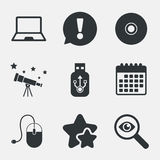 Notebook pc and Usb flash drive stick icons. Royalty Free Stock Images