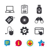 Notebook pc and Usb flash drive stick icons. Royalty Free Stock Photos