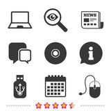 Notebook pc and Usb flash drive stick icons. Stock Images