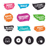 Notebook pc and Usb flash drive stick icons. Royalty Free Stock Photo