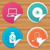 Notebook pc and Usb flash drive stick icons. Stock Photography