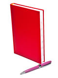 Notebook with pen. Red notebook with pen on white Stock Image
