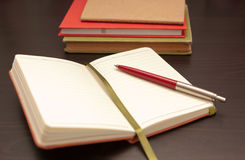 Notebook and pen Stock Image