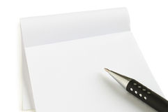 Notebook with pen. Isolated on white Royalty Free Stock Image
