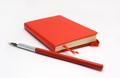 Notebook and Pen. Red Notebook and Red Pen Stock Images