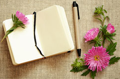 Notebook and a pen with asters composition Royalty Free Stock Photography