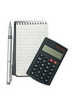 Notebook with pen and calculator. Royalty Free Stock Images