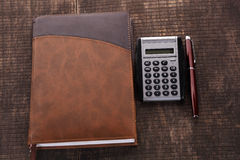 The notebook pen and calculator Royalty Free Stock Images
