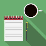Notebook, pen and coffee Royalty Free Stock Images