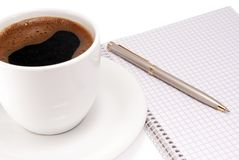 Notebook with pen and coffee Royalty Free Stock Photo
