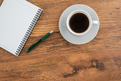 Notebook with pen and cup of  coffee, Planning Stock Photos