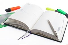 Notebook with pen and disk Royalty Free Stock Photos