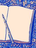 Notebook, pen and doodle bg royalty free illustration