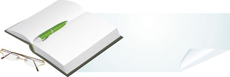 Notebook, pen and glasses. Banner Stock Photo