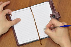 Notebook and pen. Stock Photo