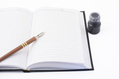 Notebook, pen and ink Royalty Free Stock Photo