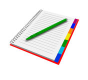 Notebook with pen. Isolated notepad for record. Royalty Free Stock Image
