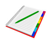 Notebook with pen. Isolated notepad for record. With colored bookmarks Royalty Free Stock Image