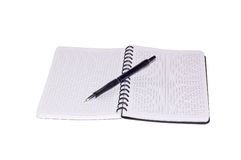 Notebook and pen isolated on a white background. Stock Image