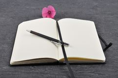 Notebook, pen and mallow on slate. Colorful and crisp image of notebook, pen and mallow on slate Stock Photos