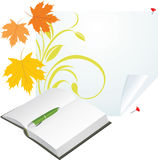 Notebook, pen and maple leaves on the pure page stock images