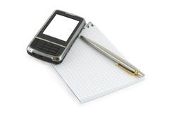 Notebook, pen and mobile phone on it stock images