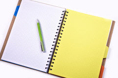 Notebook with pen and pencil Stock Photos