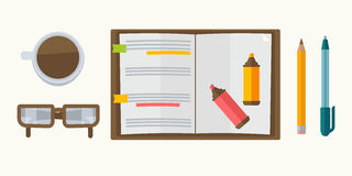 Notebook, pen and pencil icon Royalty Free Stock Images