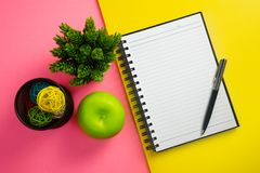 Notebook with Pen on Pink and Yellow Background. Blank notebook and pen with green apple, potted plant on yellow and pink background Stock Photography