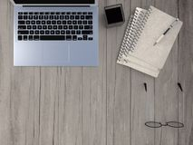 Notebook with pen and spectacles Royalty Free Stock Photos